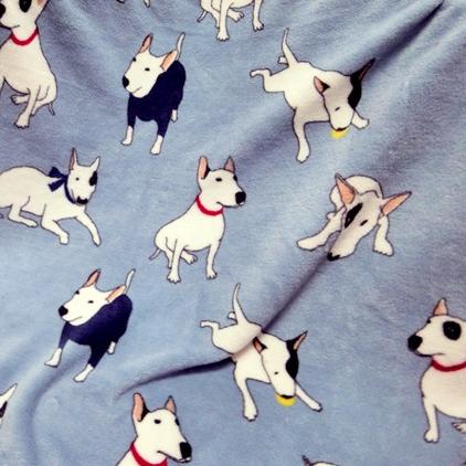 Одеяло с бультерьером 70*100, серый/розовый