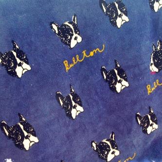 Одеяло с фр. бульдогом 70*100, красный/синий/белый