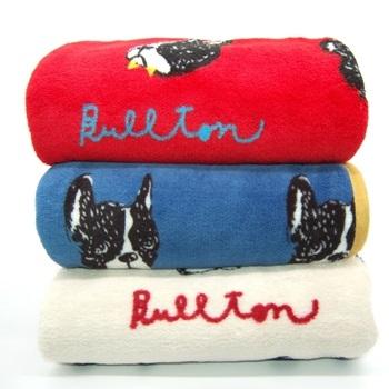Одеяло с фр. бульдогом 70*100, красный/синий/кремовый